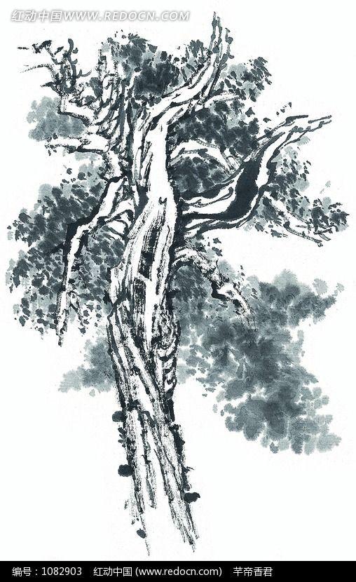 生长茂盛的树木水墨画图片