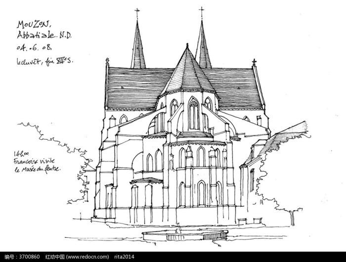 现代欧式别墅手绘稿图片