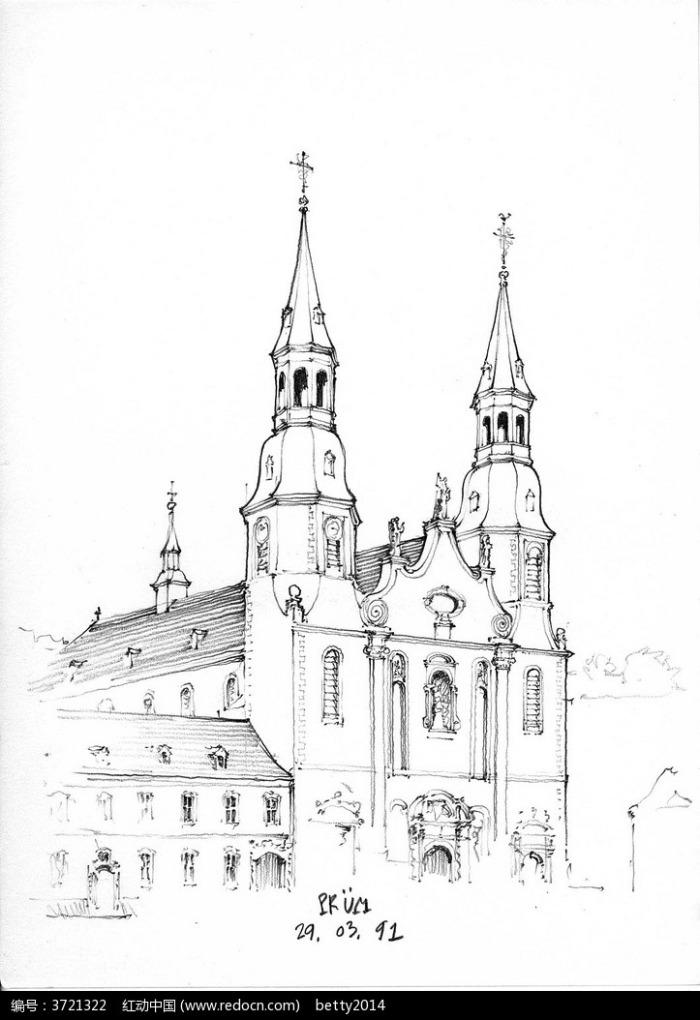 欧式双塔建筑街景手绘线描图图片