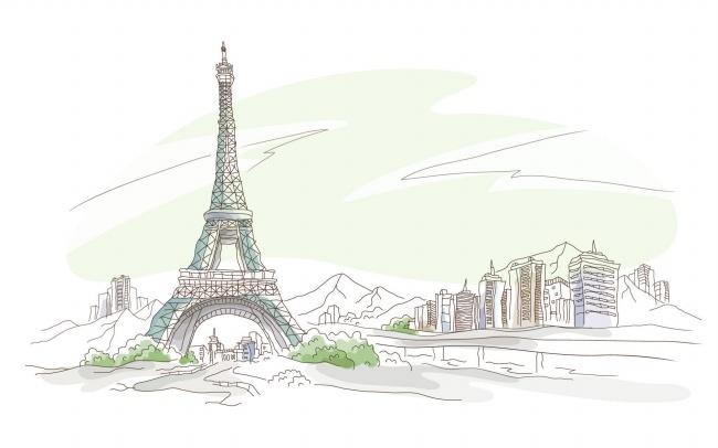 手绘巴黎铁塔图片 - 搜素材