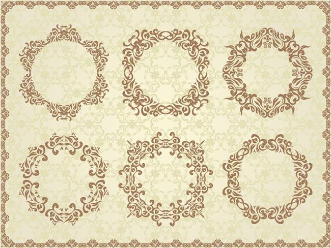 欧式圆形花纹矢量图