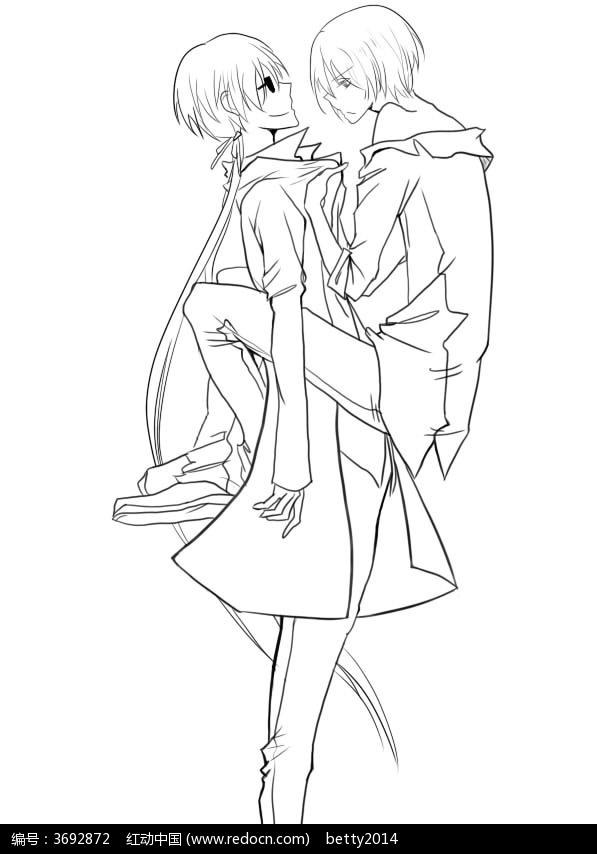 拥抱的情侣卡通手绘线稿图片