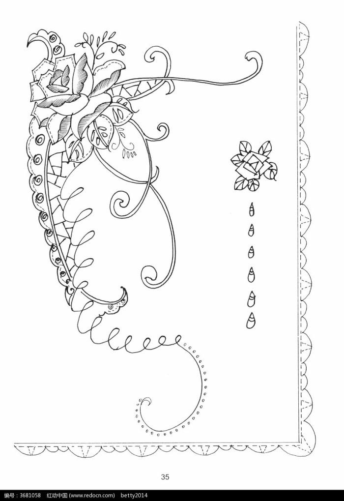 藤蔓缠绕手绘线稿