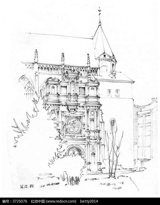手绘塔楼建筑线描图图片