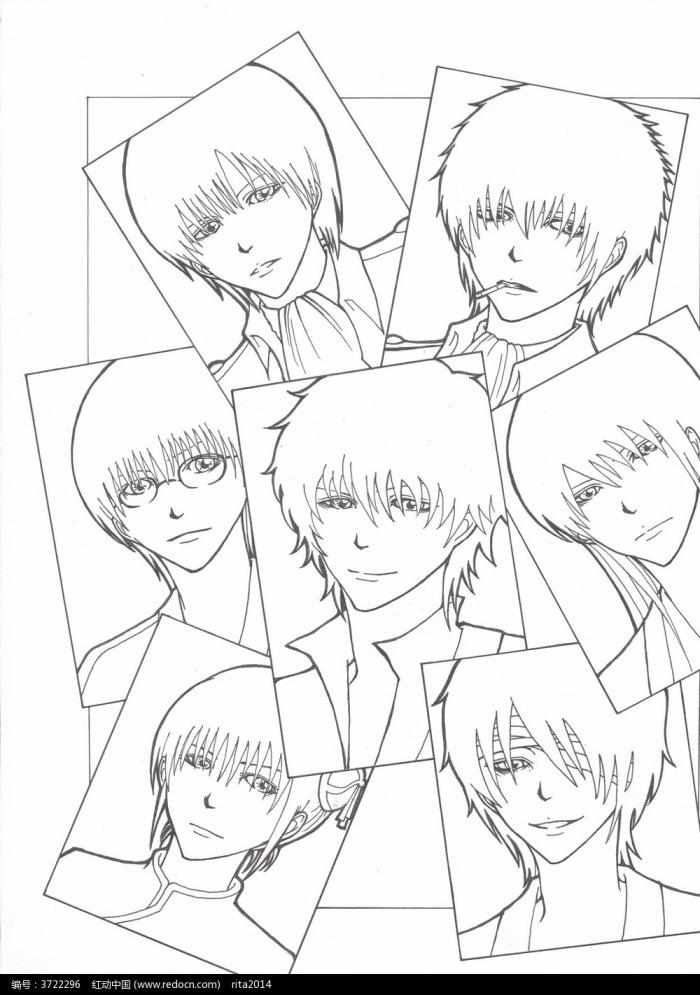 理发店男士发型线稿图片