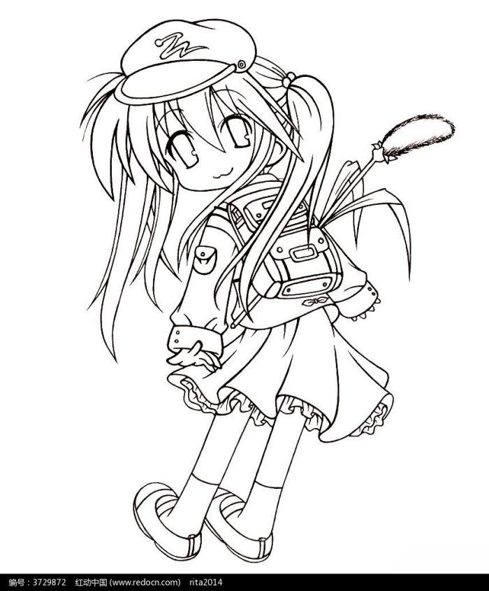 背着书包的卡通女孩图片